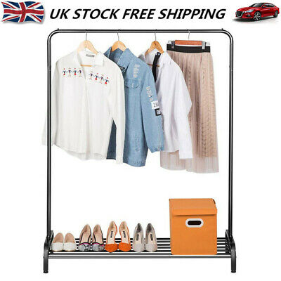 Heavy Duty Clothes Rail Metal Garment Hanging Display Stand Rack Shoes Shelf UK