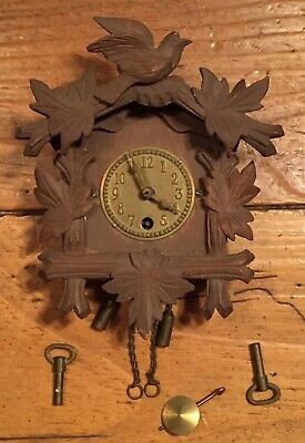 Antique Black Forest Wooden Carved Bird Clock