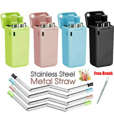 Reusable Collapsible Drinking Straws Stainless Steel Foldable Case Free Brush