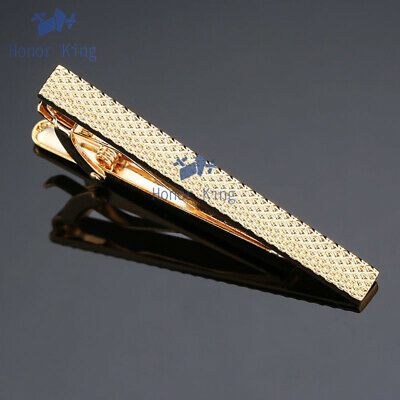 Mens Tie Pin Plaid Carved Tie Clip Stainless Steel Tie Clasp Bar 2 Style 5.5cm
