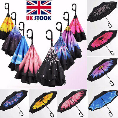UK Automatic Open Double Layer Upside Down Inverted Reverse Windproof Umbrella