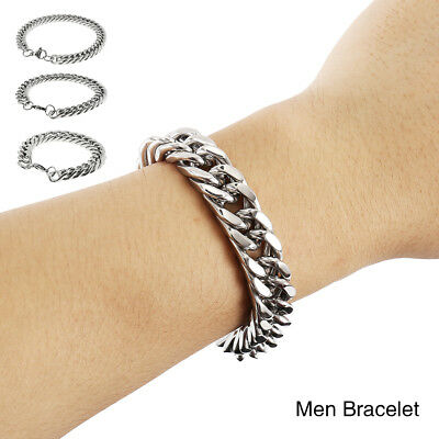 NEW Heavy Men's Silver Curb Chain Polished Bangle Stainless Steel Bracelet
