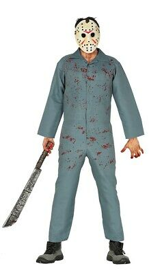 Adult Mens Jason Costume With Mask Scary Halloween Fancy Dress Outfit Size M/L