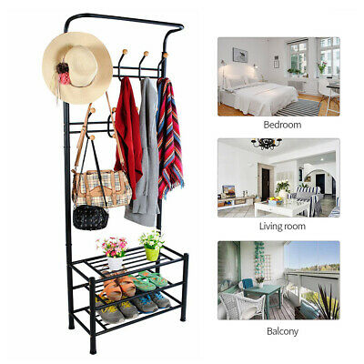 Metal Clothes Rail Garment Coat Hat Hanger Display Stand Rack Shoe Storage Shelf