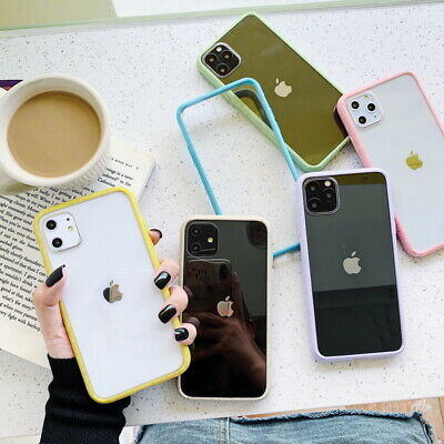 For iPhone 11 Pro Max XS XR 7 8 Shockproof Colorful Bumper Clear Soft Case Cover