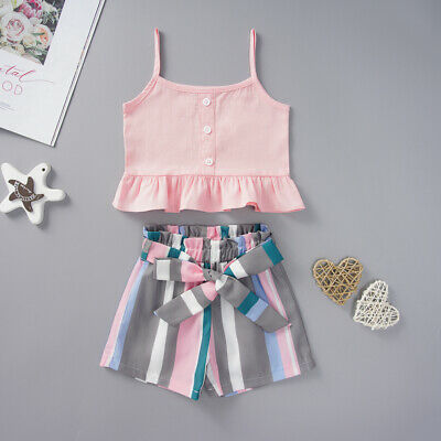 USA 2PCS Kids Baby Girls Outfits Summer Sleeveless Crop Tops+Shorts Clothes Set