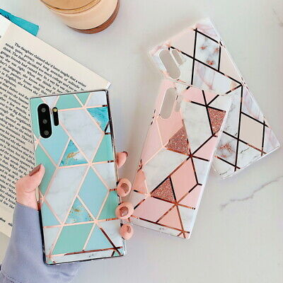 Marble Phone Case Geometric Gel Cover For Samsung Galaxy Note 10 Plus A70 S9 S8