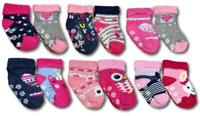 Baby Girl Toddler ABS Anti Slip Terry Cotton Winter Socks Size 6m-3 Years 2Pairs