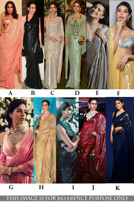 New Georgette Saree Designer Sari Indian Reception Bollywood Cocktail Party Wear