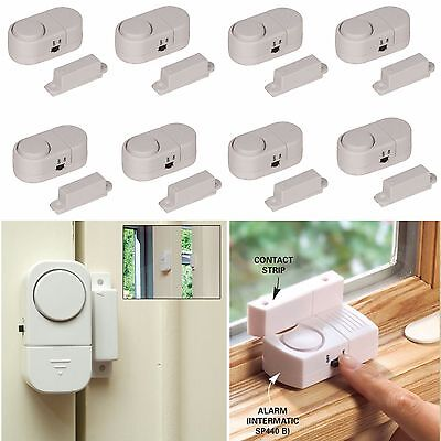 8x Task Door And Window Entry Alarm Set Security Device Alert Burglar Home
