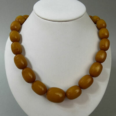 Genuine Baltic Butterscotch Amber Bead Necklace C.1930 - 71 Grams