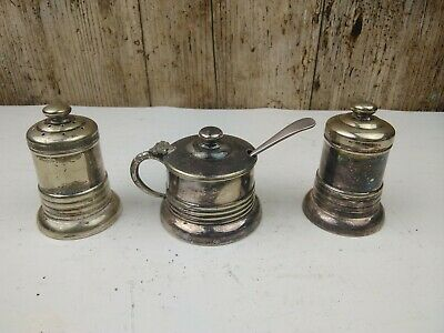 Antique EPNS SIlver Plated Condiment/Cruet Set with Bristol Blue Glass Liners