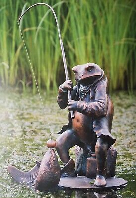Fisher Toad Fishing Frog Garden Statue Riverbank collection Bronze Effect Patina