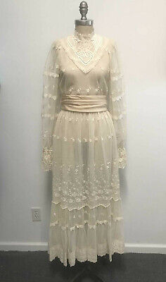 VTG 60s Ivory Sheer Lace Victorian Wedding Dress Unlined Romantic Prairie sz 4XS
