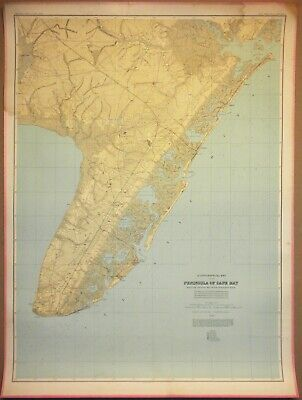 LARGE 3-ft Linen-Backed Original Antique Map Cape May, New Jersey, 1888