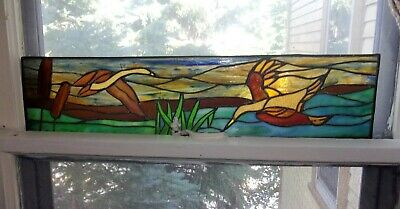 Vintage Colorful Leaded Stained Glass Window Panel - Geese In Flight