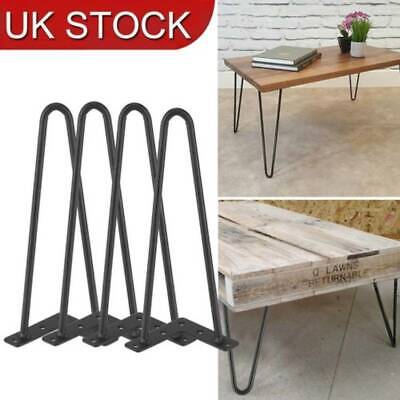 "4X Hairpin Table Legs 12"" Short 10mm 2 Rods Metal Coffee Table Tea Legs Black"