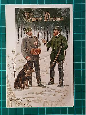 1904 Antique MAILICK Christmas Postcards Hunters Guns Dog Pouch Bag Gold Glitter