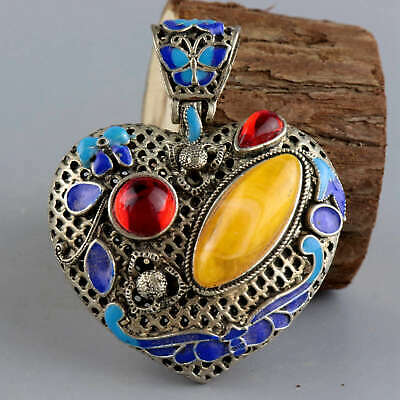 Collect Old Tibet Silver Cloisonne Inlay Amber Carve Butterfly Delicate Pendant