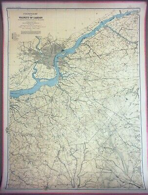 LARGE 3-ft Linen-Backed Original Antique Map Camden Area, New Jersey, 1888