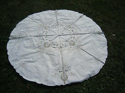 "Gorgeous MADEIRA Hand Embroidered Ivory 64"" Round Floral COTTON TABLECLOTH"