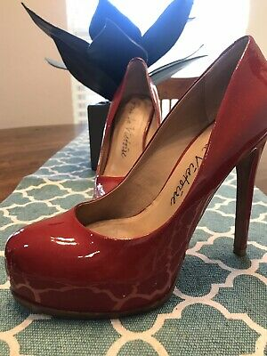 POUR LA VICTOIRE Blue Patent Leather Platform Pumps Sz 8.5