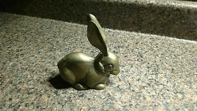 Vintage brass Bunny rabbit Collectible paperweight figurine Metal