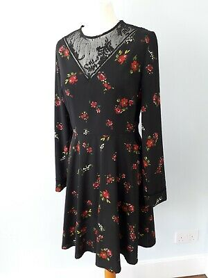 Warehouse Size 12 Black Rose Floral Lace Fit Flare Dress Long Sleeve Autumn