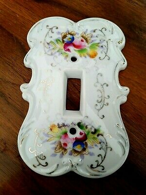 Vintage Arnart Creations Porcelain Single Light Switch Plate Cover Floral Design