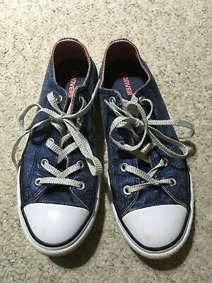 Woman Girl`s Sparkly Denim Converse Trainers Size Uk 3