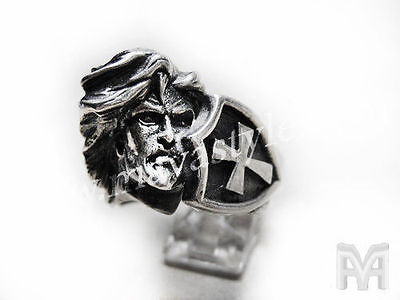 Sterling Silver King Arthur Ring Cross Shield Medieval Excalibur Knight Jewelry