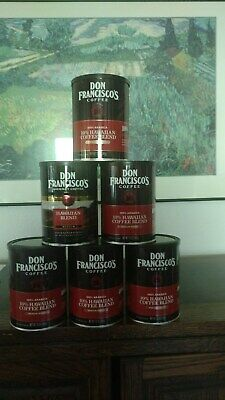 6 empty Don Francisco's metal coffee cans w/lids
