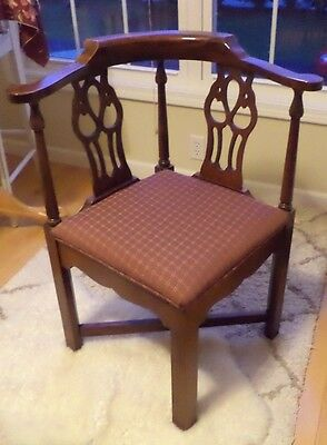 Mahogany Corner Chair Chippendale Style Vintage PICK UP ONLY( Reduced for 5 days