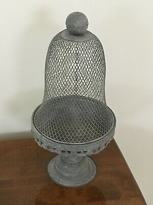 Antique French Garden Gray Wire Metal Dome Cloche on Filigree Pedestal Stand 15""