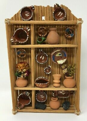 VTG Dollhouse Miniature Wood Terra Cotta Pots Plants & Plates Display Wall Unit