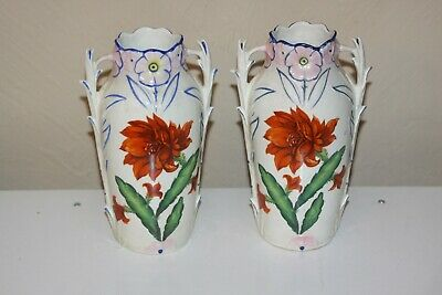 Czechoslovakian Czech PAIR Unique Hand Painted Vases Flowers LOT 4316