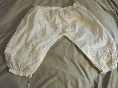 Vintage Pantaloons Girls Childs 3 4 White Cotton Antique Bloomers TLC Embroidery