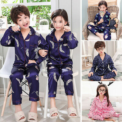Kids Boys Girls Children Satin 2pcs Pajama Set Loungewear Nightwear Sleepwear