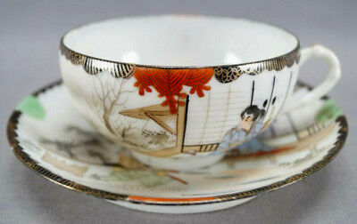 Late 19th Century Kutani Porcelain Hand Painted Samurai Tea Cup & Saucer A