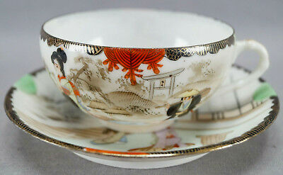 Late 19th Century Kutani Porcelain Hand Painted Asian Ladies Tea Cup & Saucer