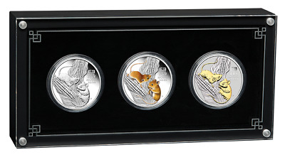 2020 Australian Lunar Series III Year of the Mouse 1oz Silver Trio
