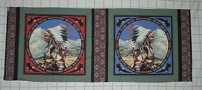 NATIVE AMERICAN INDIAN CHIEF PORTRAIT Pillow Quilt Block Square Fabric Panel OOP