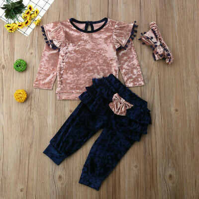 Toddler Baby Kids Girls Outfits Ruffle T Shirt Tops+Checked Pants Clothes Set