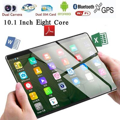 10.1'' Tablet PC Android 7.0 Octa Core 2+32GB HD Wifi 2 SIM 3G Phablet Lot eT