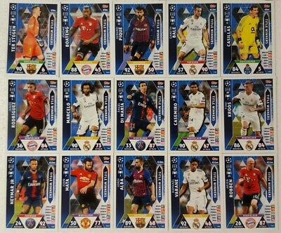 Match Attax 2018/19 UEFA Champions League MEGA TIN Card Set TITLE WINNERS ( 15 )