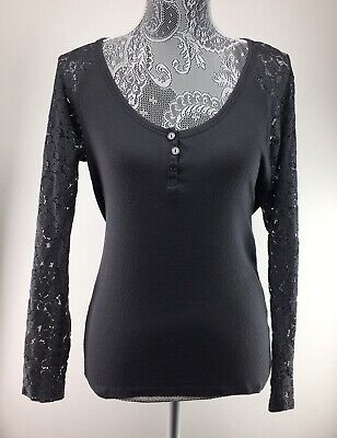 Victorias Secret M Gray Shirt Lace Sleeves Henley Top