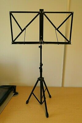 Sturdy Folding Music Stand - Black Metal - Adjustable for Height - Rubber Feet