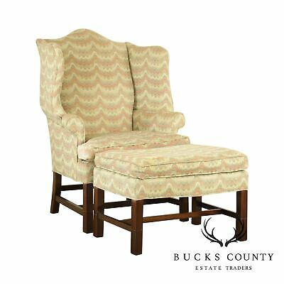 Carr & Company Chippendale Style Mahogany Wing Chair w/ Ottoman