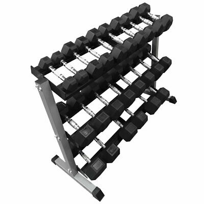 FXR SPORTS 6 PAIR HEX DUMBBELL STAND DUMBBELLS SET RACK GYM WEIGHTS 6 PAIRS