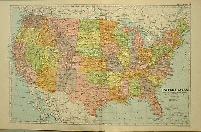 1922 Map United States California Florida New York Texas Iowa Kansas Nebraska